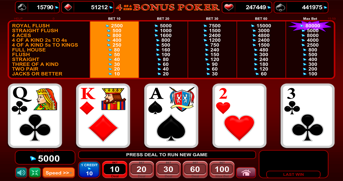 4 of a kind bonus poker egt