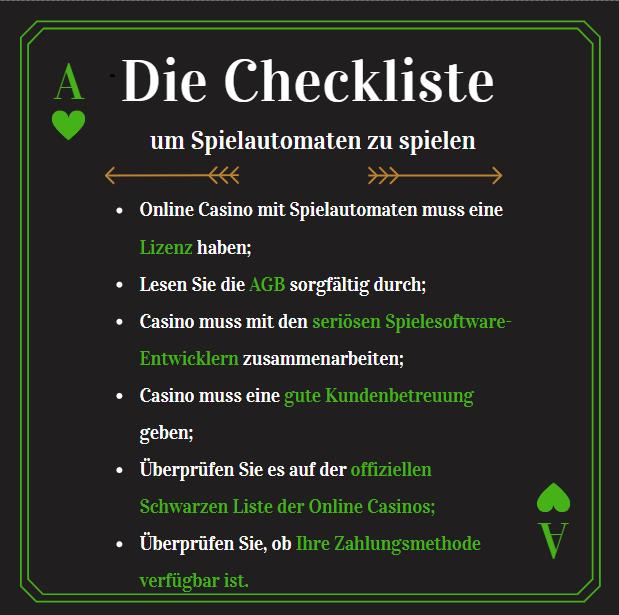 spielautomaten kostenlos spiele checkliste