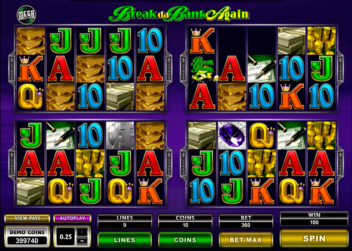 break da bank again megaspin microgaming spielautomaten