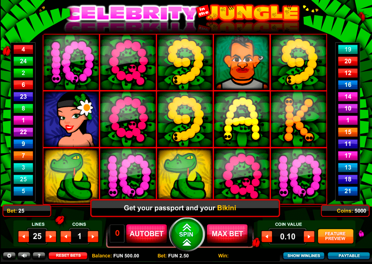 celebrity in the jungle gaming spielautomaten
