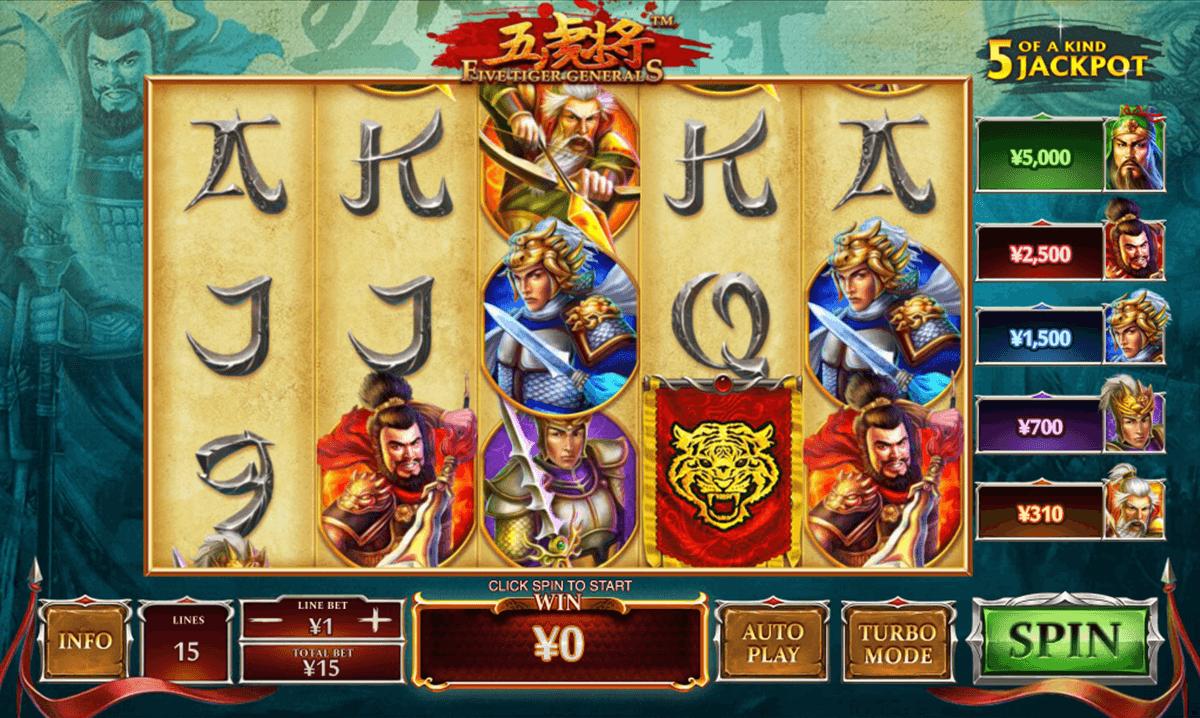 five tiger generals playtech spielautomaten