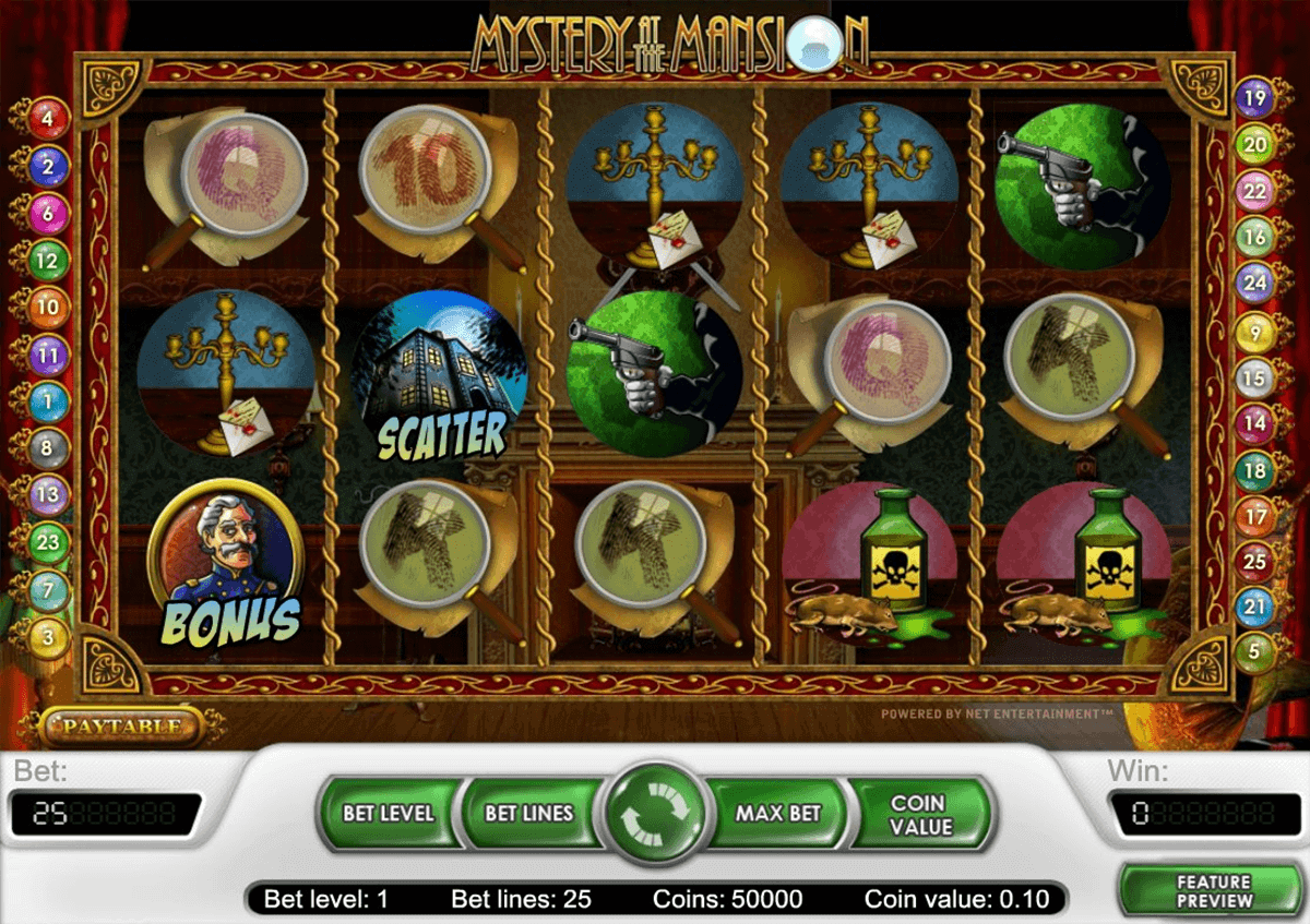 mystery at the mansion netent spielautomaten
