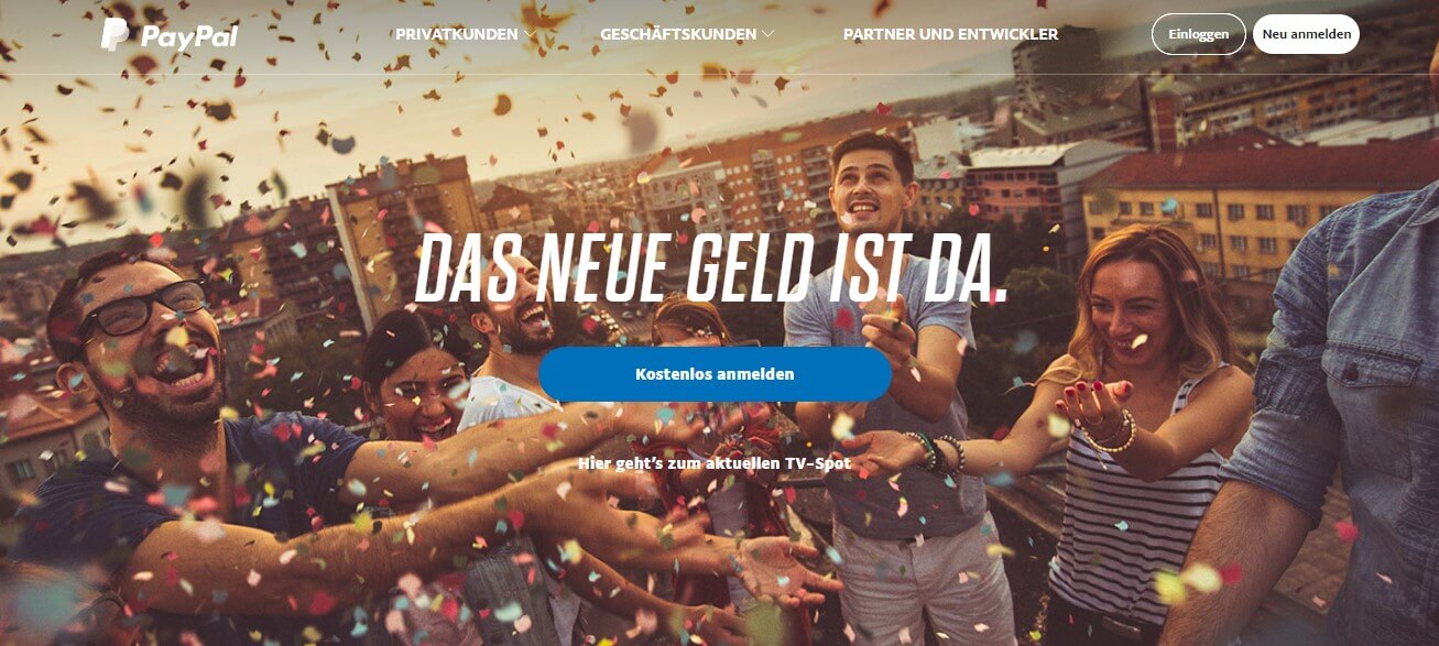 PayPal Zahlungssystem Homepage