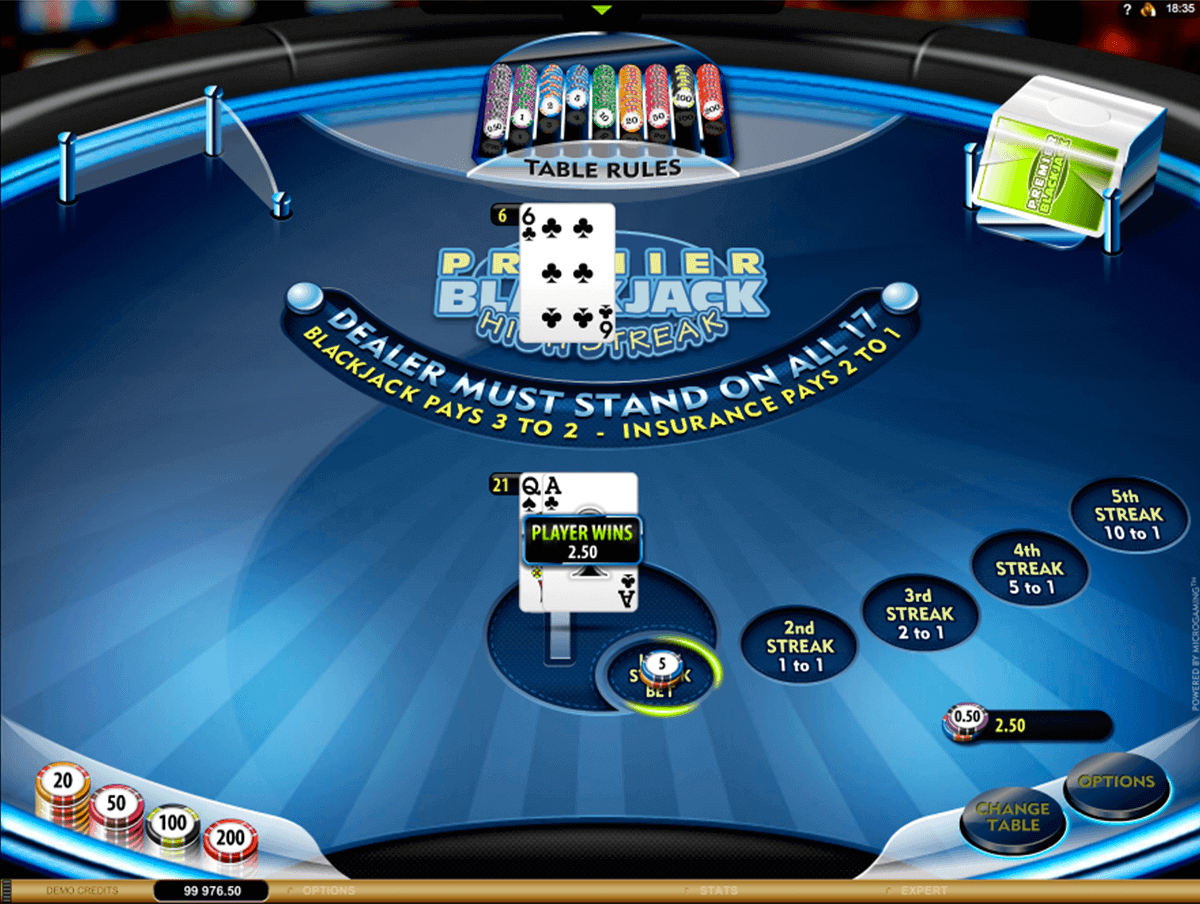 premier high streak blackjack microgaming blackjack