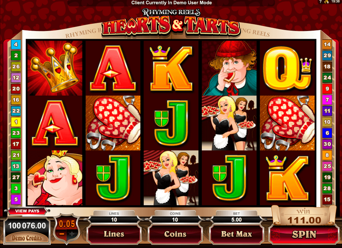 rhyming reels hearts and tarts microgaming spielautomaten
