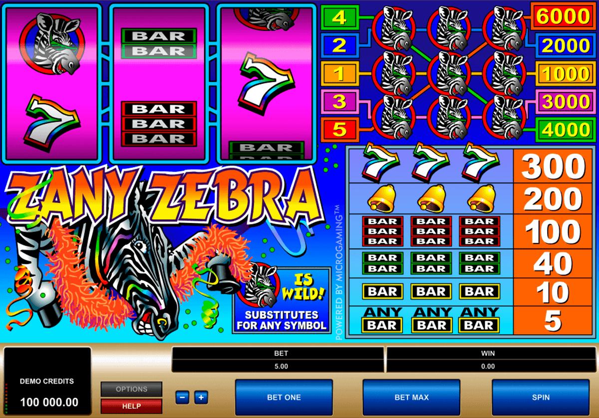 zany zebra microgaming spielautomaten
