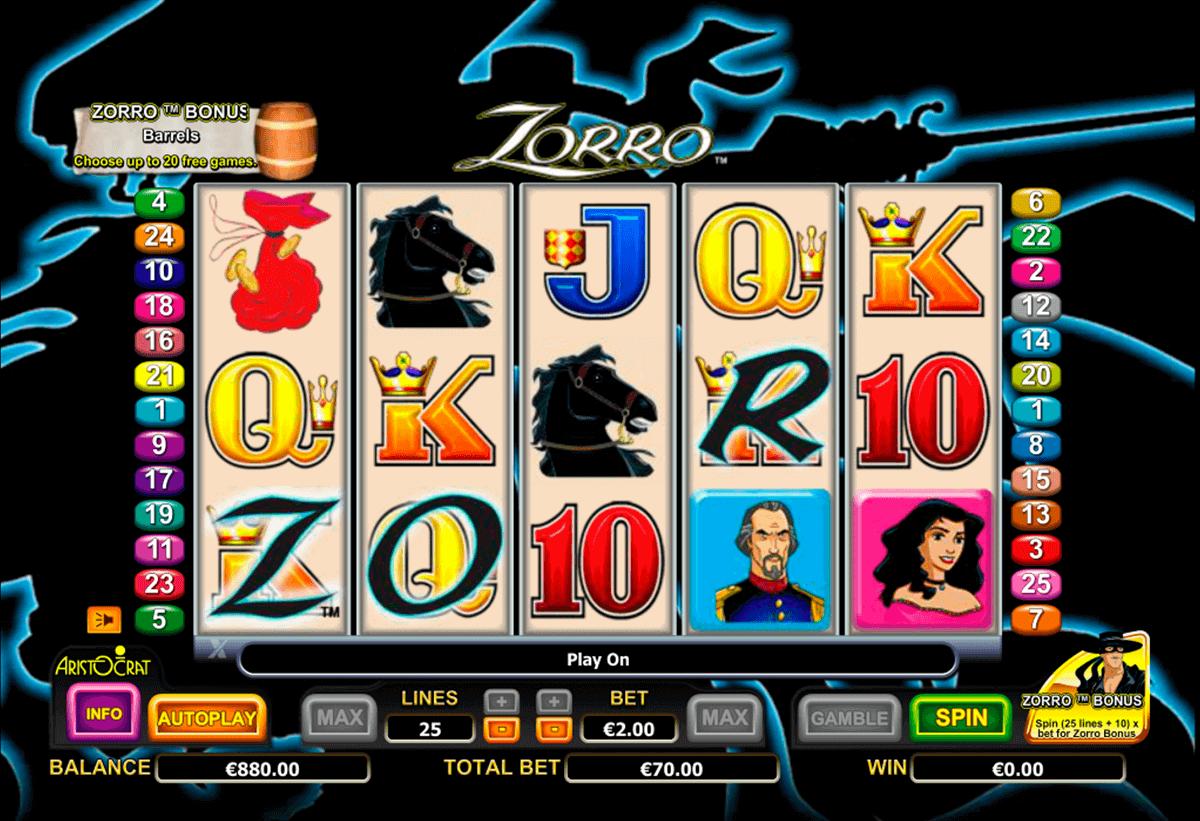 zorro aristocrat spielautomaten