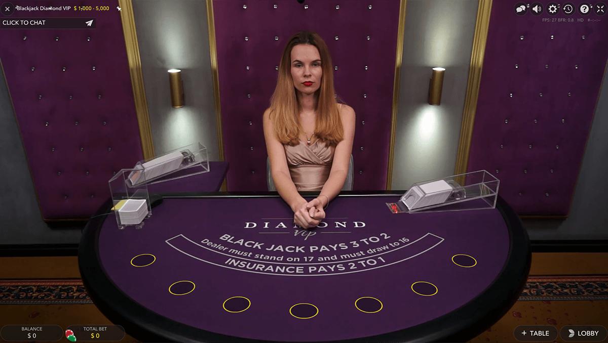 diamond vip live blackjack evolution gaming