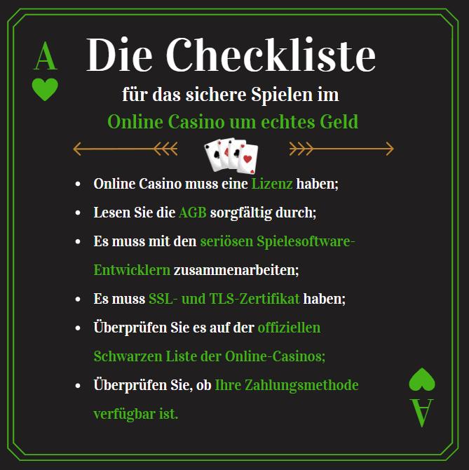 online casino echtgeld checkliste